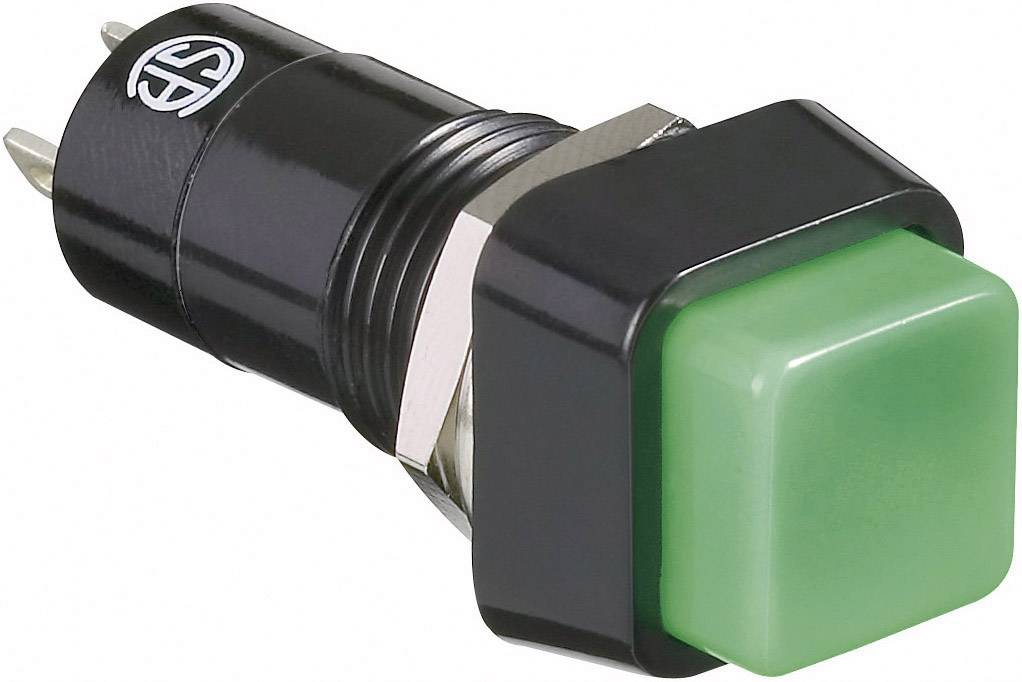 Tlačítkový spínač TRU COMPONENTS TC-R13-23B-05GN, 250 V/AC, 1.5 A, světle zelená, 1 ks