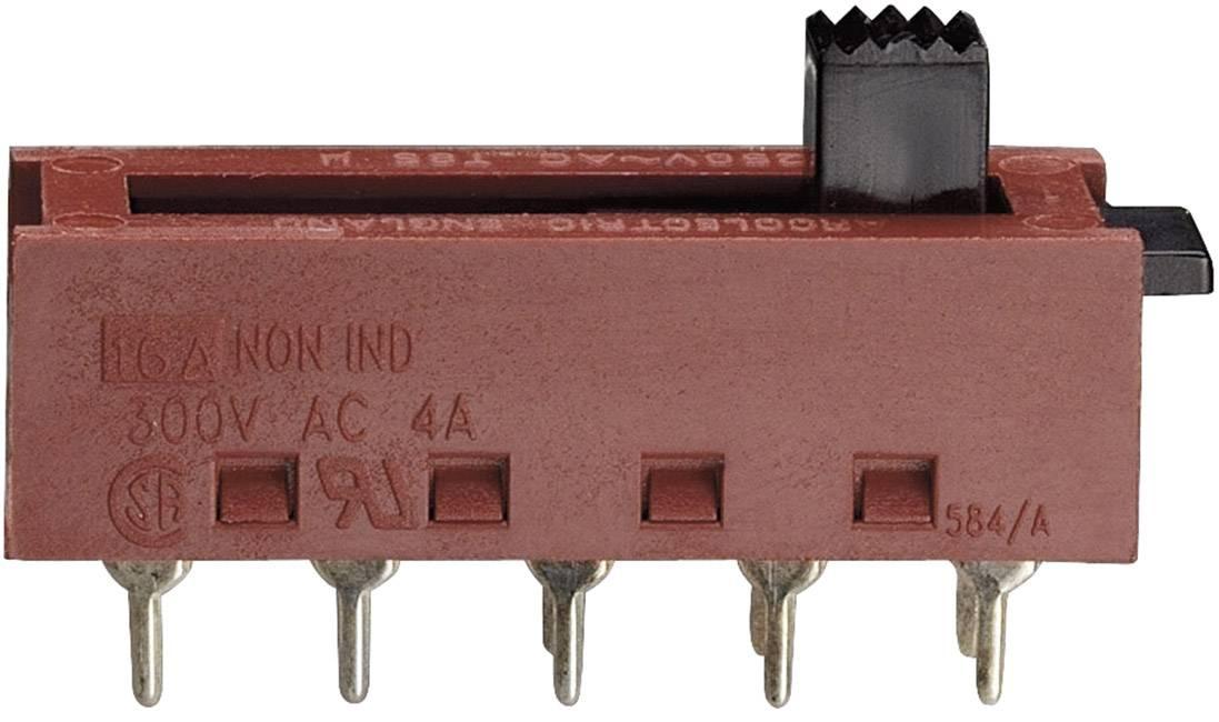 Posuvný prepínač Arcolectric X22200CAAD, 250 V/AC, 10 A, 2x zap/zap, 1 ks