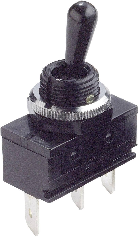 Ochranný přepínač s plastovou páčkou Arcolectric C1720ROAAE, 1x zap/vyp/zap, 250 V/AC, 16 A, černá
