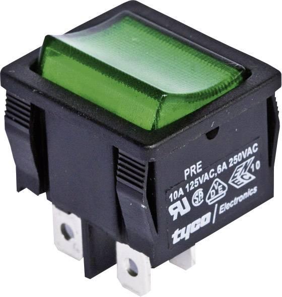 Kolískový spínač s aretáciou TE Connectivity 1634200-9, 250 V/AC, 6 A, 2x vyp/zap, farba svetla: zelená, 1 ks