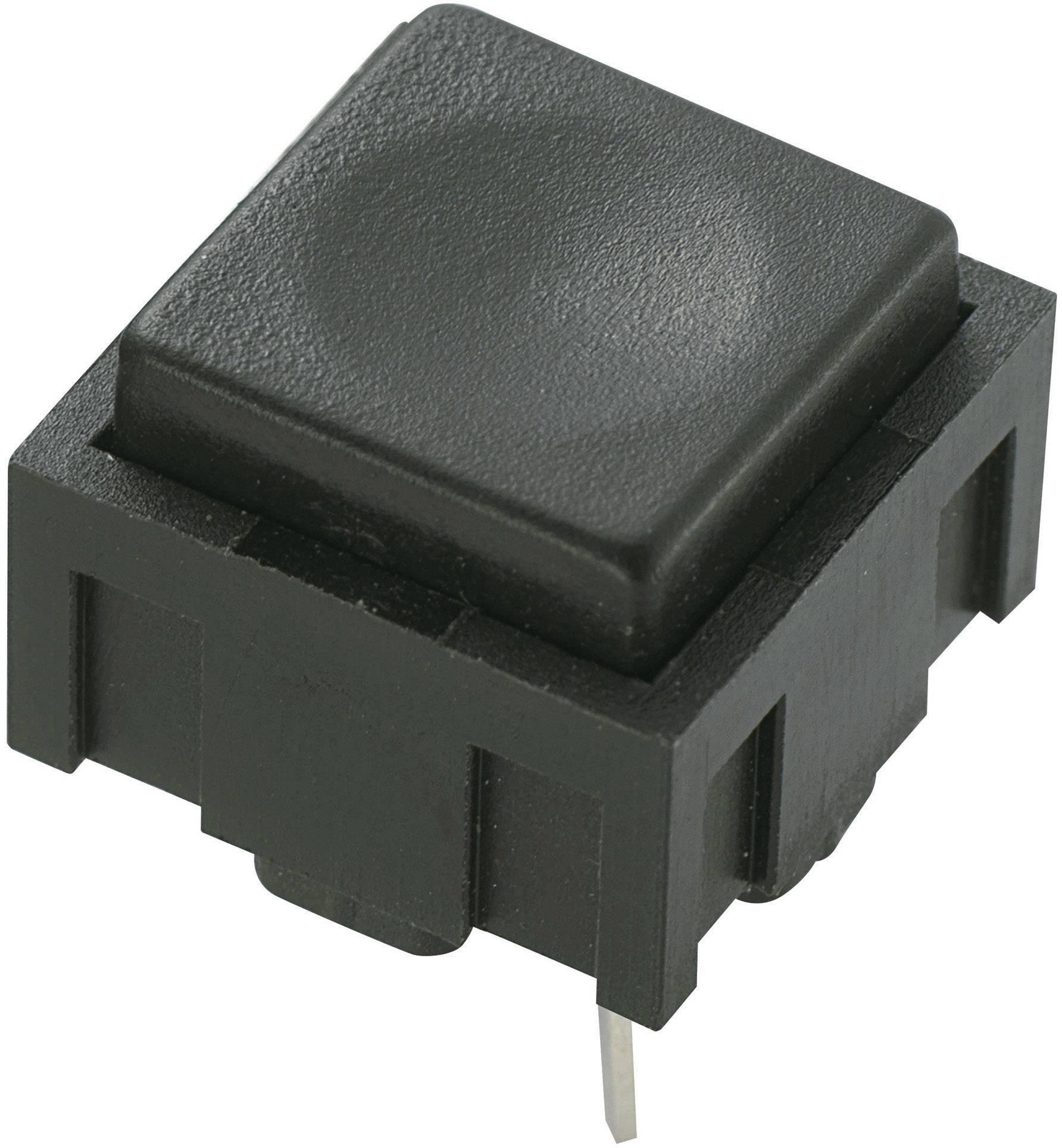 Tlačidlo TRU COMPONENTS PBS-18B, 50 V DC/AC, 0.025 A, čierna, 1 ks