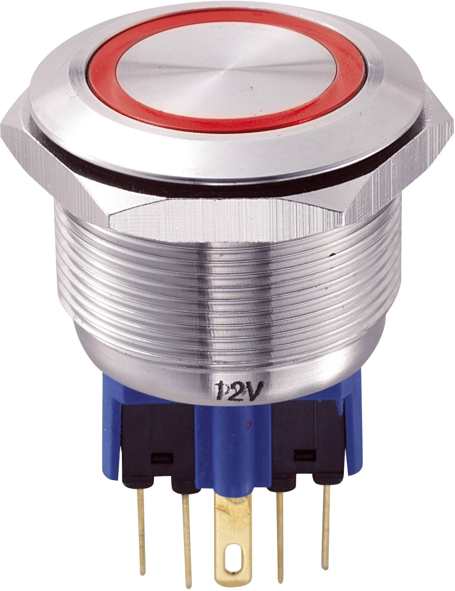 Tlačítko antivandal bez aretace TRU COMPONENTS GQ25-11E/R/12V, 250 V/AC, 5 A, nerezová ocel, 1x zap/(zap), červená