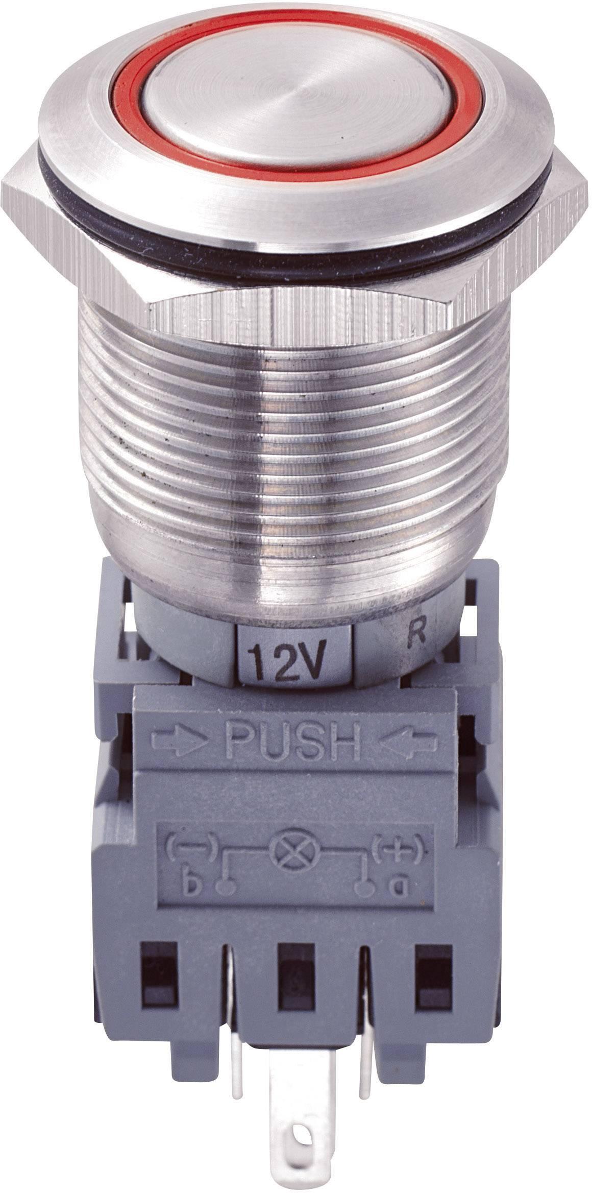 Tlakový spínač s ochranou pred vandalmi TRU COMPONENTS LAS1-BGQ-11ZE/R/12V, 250 V/AC, 5 A, 1 ks