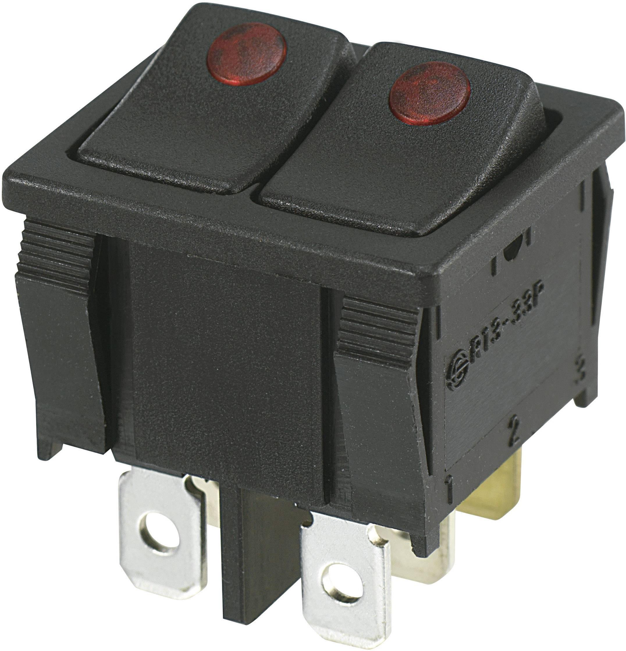 Kolébkový přepínač SCI R13-33PB2-02 (98003c3), 250 V/AC, 10 A, 2x vyp/zap