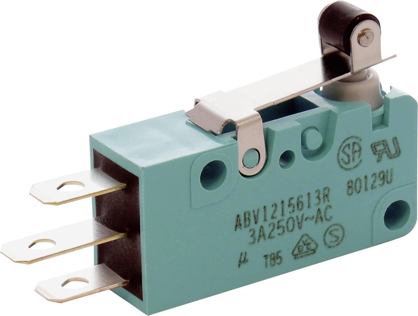 Mikrospínač - páka s valčekom Panasonic ABV1215603R, 250 V/AC, 30 V/DC, 3 A, IP67