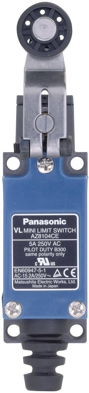Koncový spínač Panasonic AZ8104CEJ, 115 V/DC, 250 V/AC, 5 A, páka s valčekom, bez aretácie, IP64, 1 ks