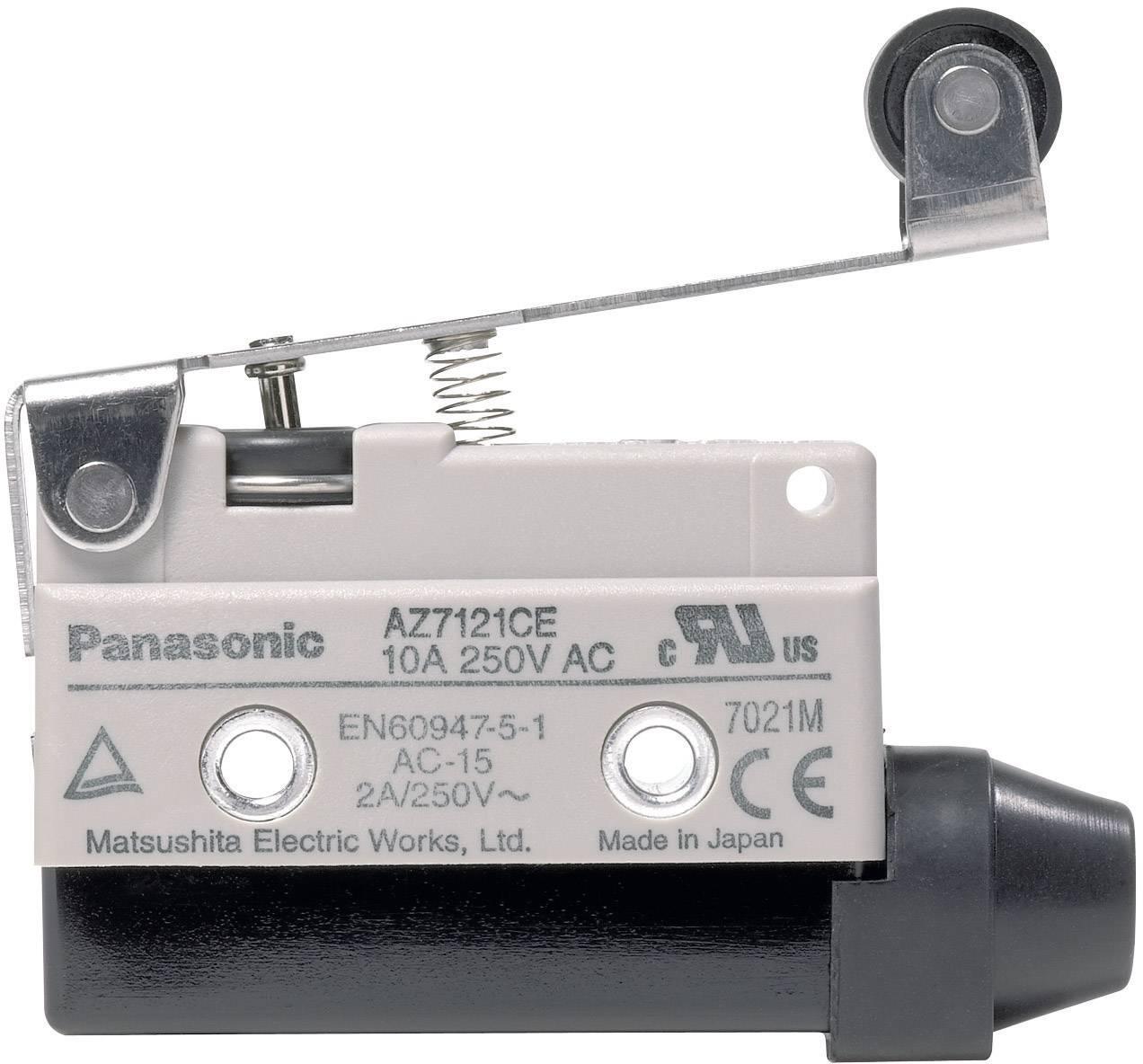 Koncový spínač Panasonic AZ7121CEJ, 10 A, 115 V/DC / 250 V/AC, páka s kladkou