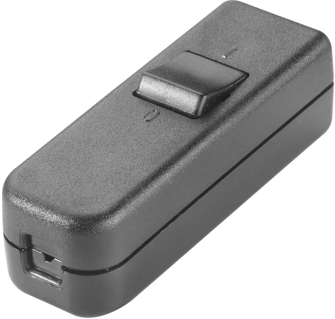 Šňůrový vypínač interBär , 1pólový, 250 V/AC, 6 A, černá