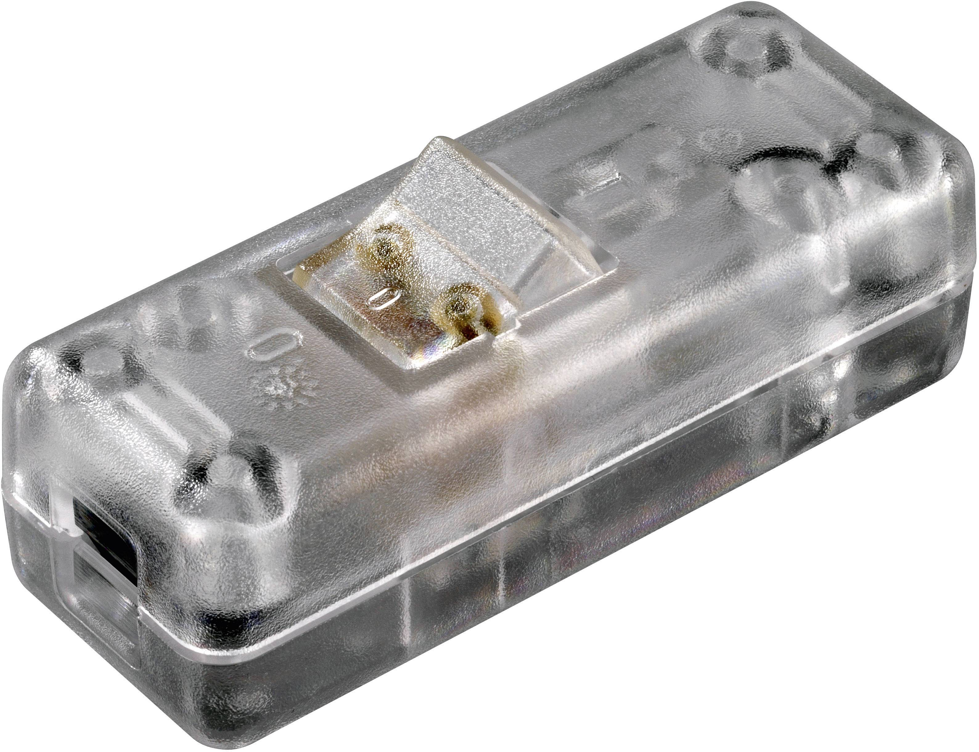 Šňůrový vypínač interBär, 2pólový, 250 V/AC, 10 A, průhledná