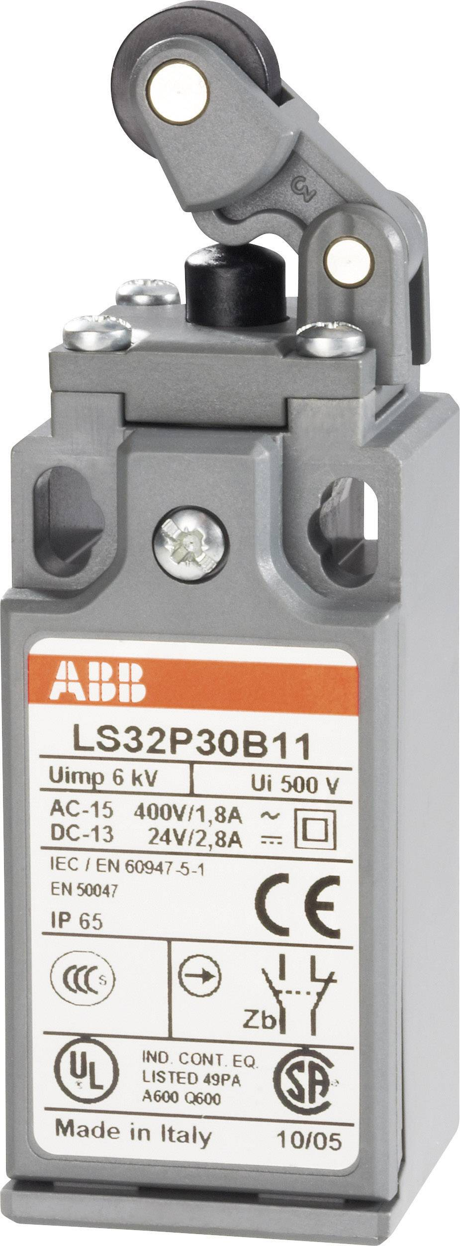 Koncový spínač ABB LS32P30B11, 400 V/AC, 1.8 A, páka s valčekom, bez aretácie, IP65, 1 ks