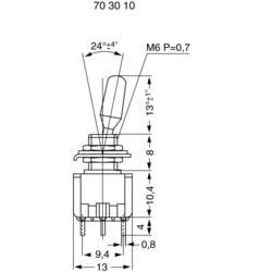 Miniatúrny pákový spínač Miyama MS 500-BC-H, 125 V/AC, 6 A, 2x zap/vyp/zap, 1 ks