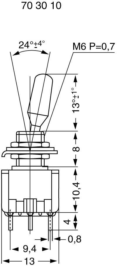 Miniatúrny pákový spínač Miyama MS 500-BC-J, 125 V/AC, 6 A, 2x (zap)/vyp/(zap), 1 ks