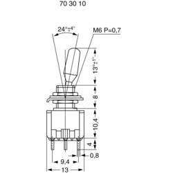 Miniaturní páčkový spínač Miyama MS 500-BC-C, 125 V/AC, 6 A, 1x zap/vyp/zap, 1 ks
