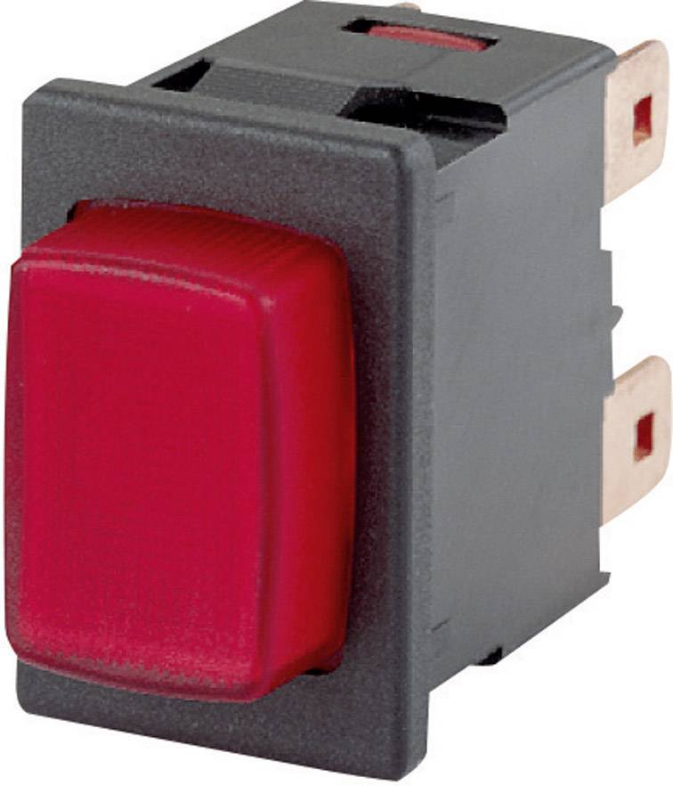 Tlačítkový spínač s aretací Marquardt 1686.1101, 250 V/AC, 16 A, černá, 1x zap/vyp, červená