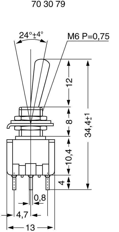 Miniatúrny pákový spínač Miyama MS 500-BC-F, 125 V/AC, 6 A, 2x zap/zap, 1 ks