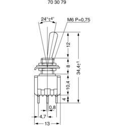 Miniaturní páčkový spínač Miyama MS 500-BC-F, 125 V/AC, 6 A, 2x zap/zap, 1 ks