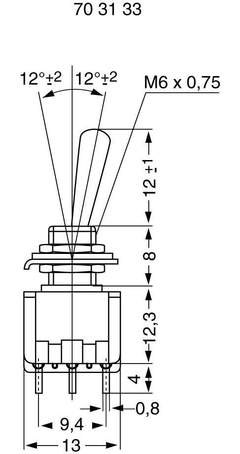 Miniatúrny pákový spínač Miyama MS 500-M-BC, 125 V/AC, 6 A, 3x zap/zap, 1 ks