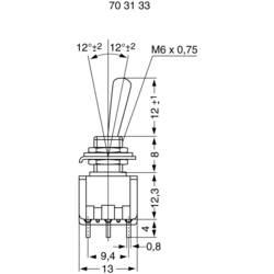 Miniaturní páčkový spínač Miyama MS 500-M-BC, 125 V/AC, 6 A, 3x zap/zap, 1 ks