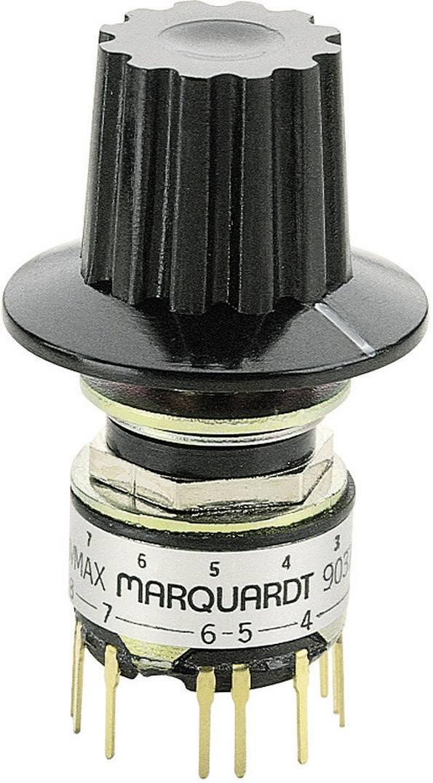Otočný spínač Marquardt 9037.0200, 28 V, 0.014 A, pozice 6, 1 x 30 °, 1 ks