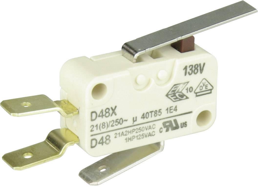 Mikrospínač - rovná kovová páka Cherry Switches D489-V3LD, 250 V/AC, 21 A
