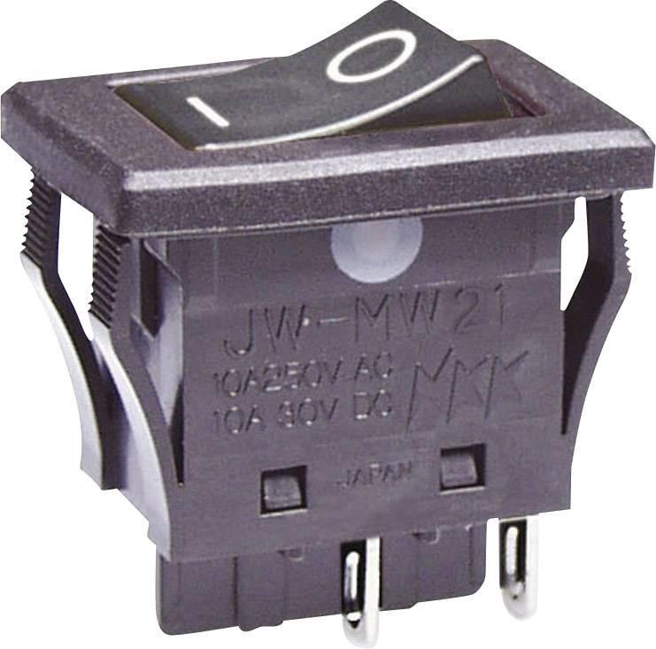Kolískový spínač s aretáciou NKK Switches JWMW21RA1A, 250 V/AC, 10 A, 2x vyp/zap, 1 ks