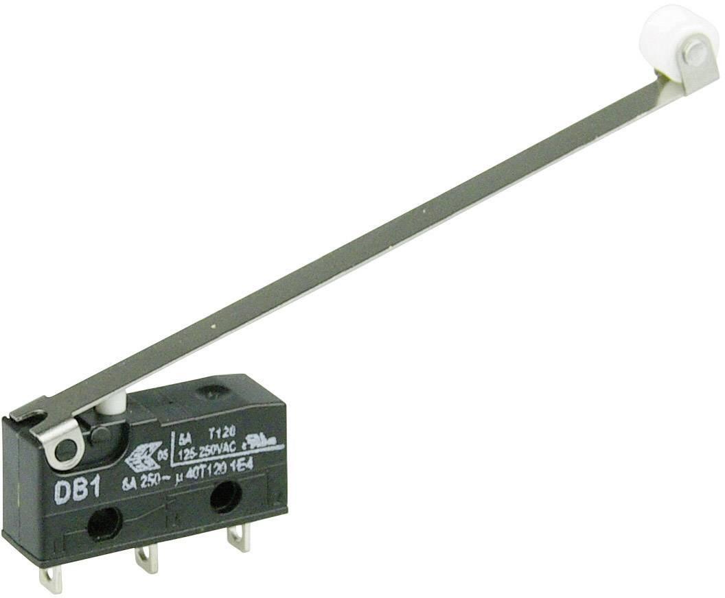 Mikrospínač - páka s valčekom Cherry Switches DB1C-A1RD, 250 V/AC, 6 A