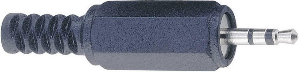 Jack konektor 2.5 mm stereo zástrčka, rovná BKL Electronic 1107002, pinov 3, čierna, 1 ks