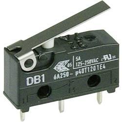 Mikrospínač s páčkou Cherry Sw. DB1C-C1LB, 250 V/AC, 6 A, do DPS, 1x zap/(zap)