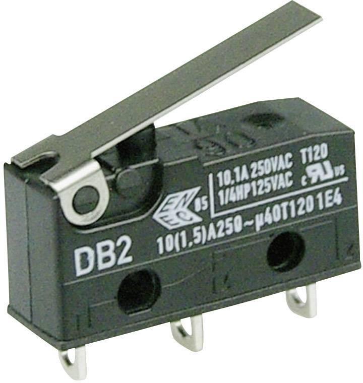 Mikrospínač - rovná kovová páka Cherry Switches DB2C-A1LB, 250 V/AC, 10 A