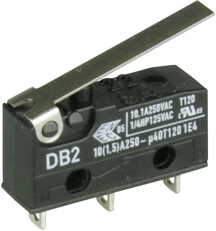 Mikrospínač - rovná kovová páka Cherry Switches DB2C-A1LC, 250 V/AC, 10 A