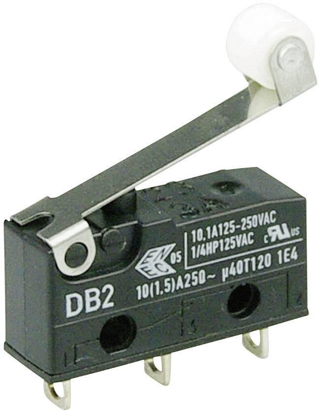 Mikrospínač s rolnou Cherry Sw. DB2C-A1RC, 250 V/AC, 10 A, pájené, 1x zap/(zap)