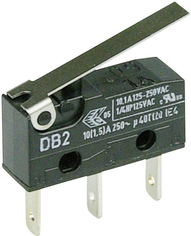 Mikrospínač - rovná kovová páka Cherry Switches DB2C-B1LC, 250 V/AC, 10 A