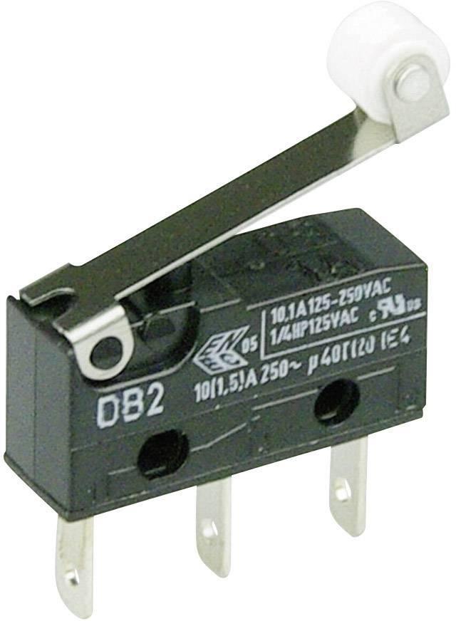 Mikrospínač s rolnou Cherry Sw. DB2C-B1RC, 250 V/AC, 10 A, 1x zap/(zap)