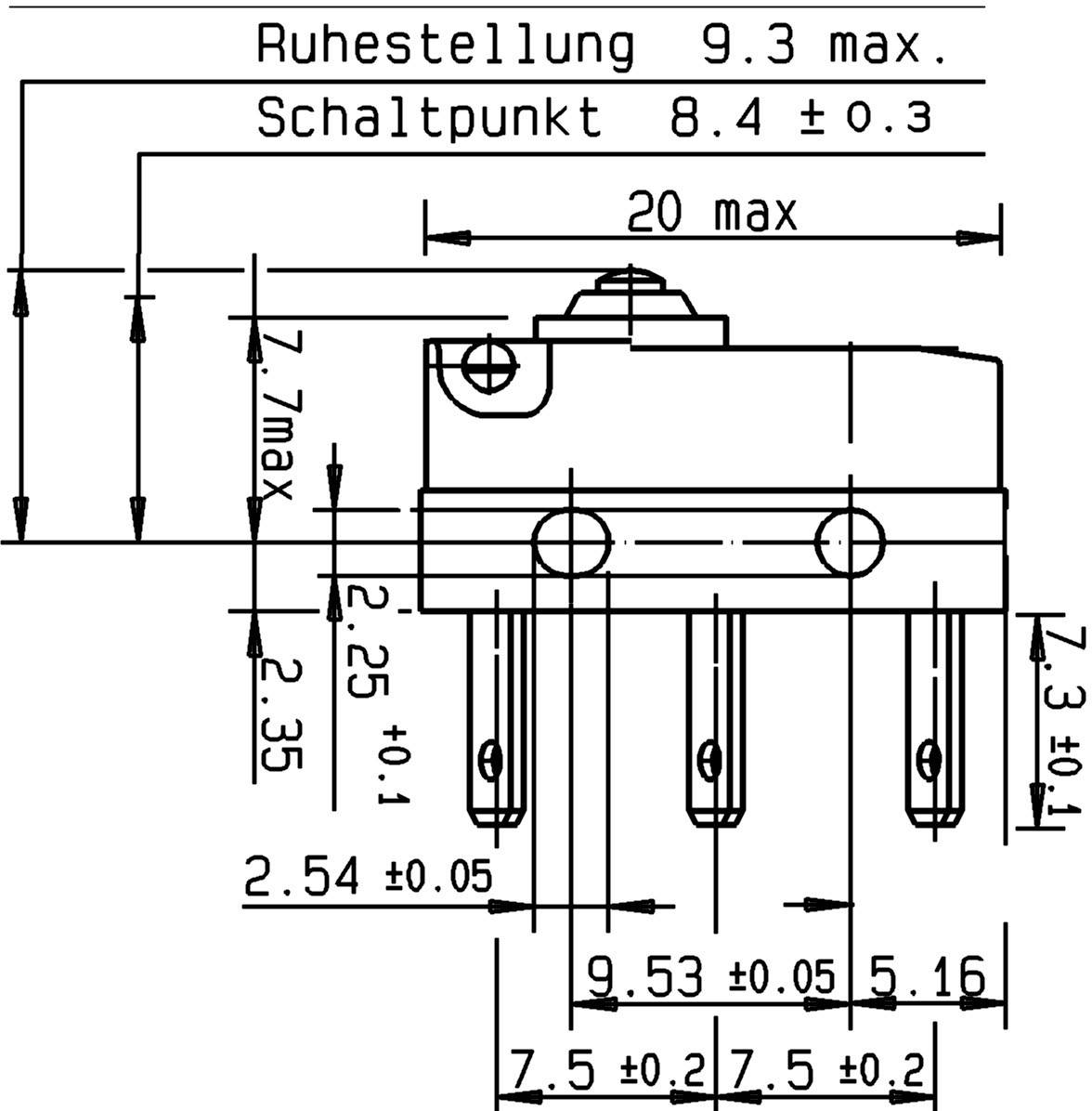 Mikrospínač Cherry Switches DC3C-L1AA, 250 V/AC, 0.1 A