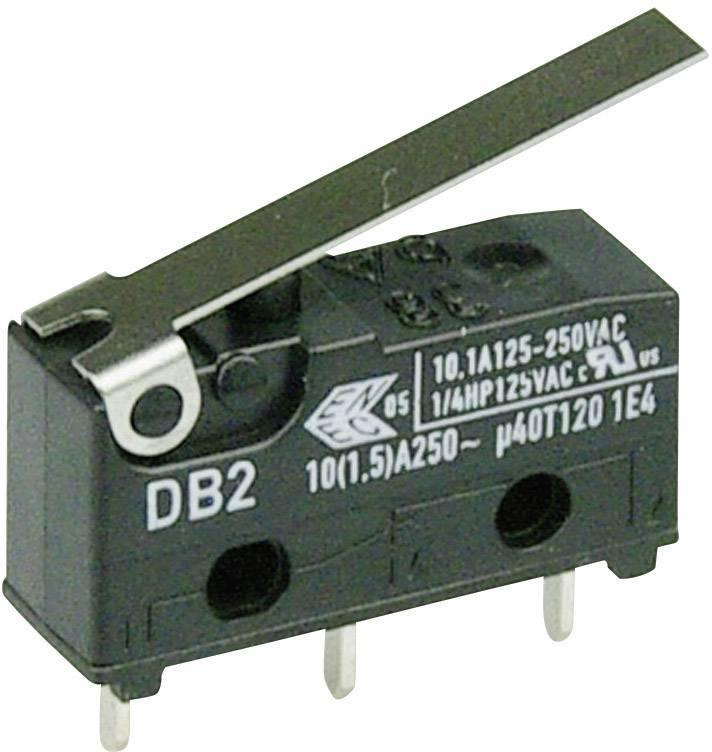 Mikrospínač - rovná kovová páka Cherry Switches DB2C-C1LB, 250 V/AC, 10 A