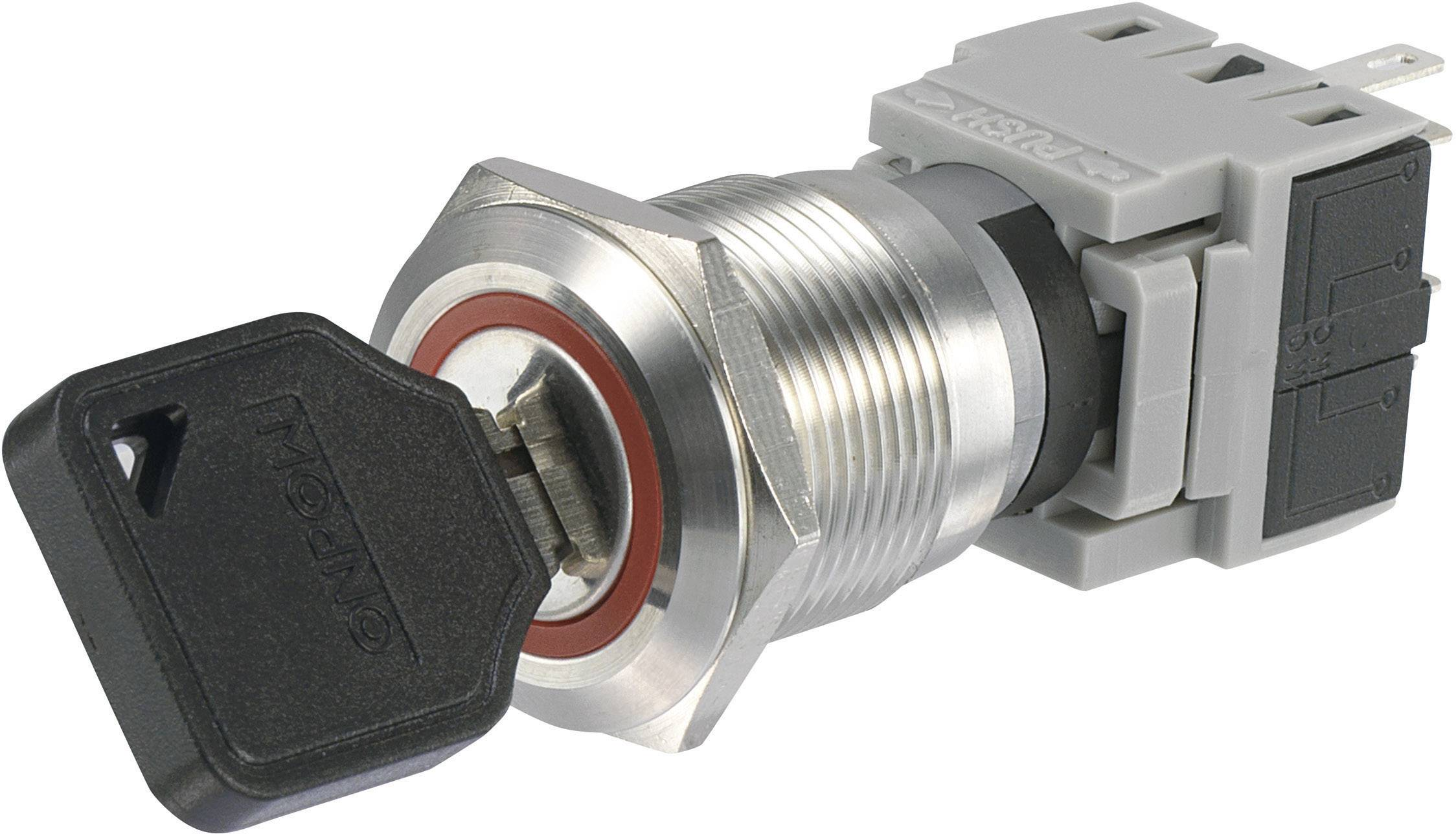 Kľúčový spínač TRU COMPONENTS LAS1-BGQ-11Y/21 704395, 250 V/AC, 5 A, 1x vyp/zap, 1 x 90 °, IP40, 1 ks