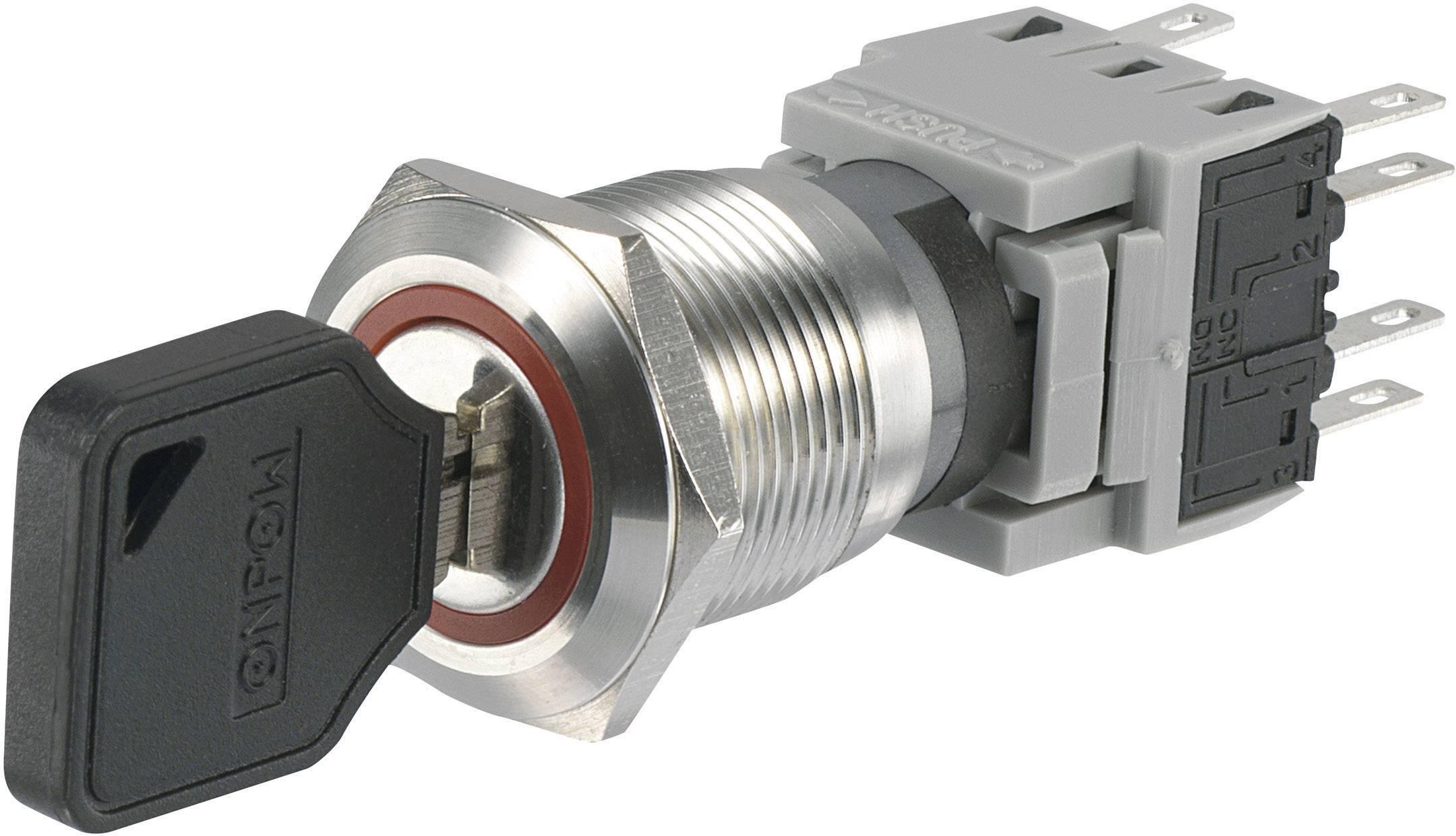 Kľúčový spínač TRU COMPONENTS LAS1-BGQ-22Y/32 704438, 250 V/AC, 5 A, 2x zap/vyp/(zap), 2 x 90 °, IP40, 1 ks