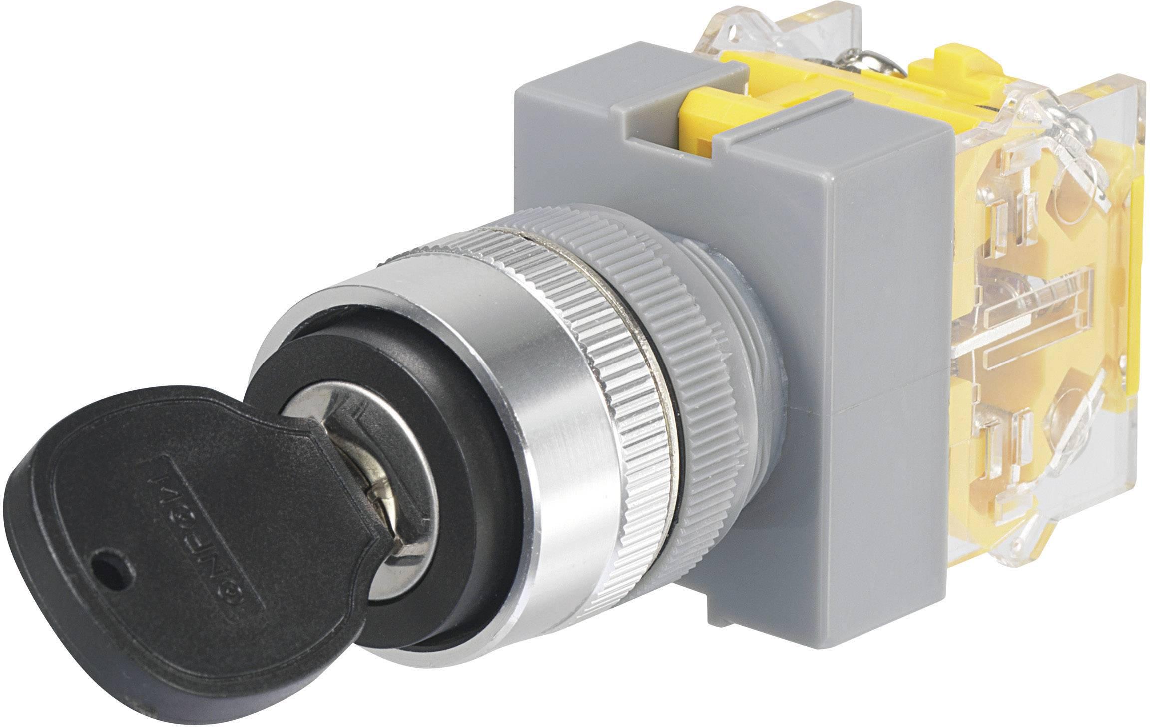 Kľúčový spínač TRU COMPONENTS Y090-A-20Y/31 704509, 250 V/AC, 5 A, 1x zap/vyp/zap, 2 x 45 °, IP40, 1 ks