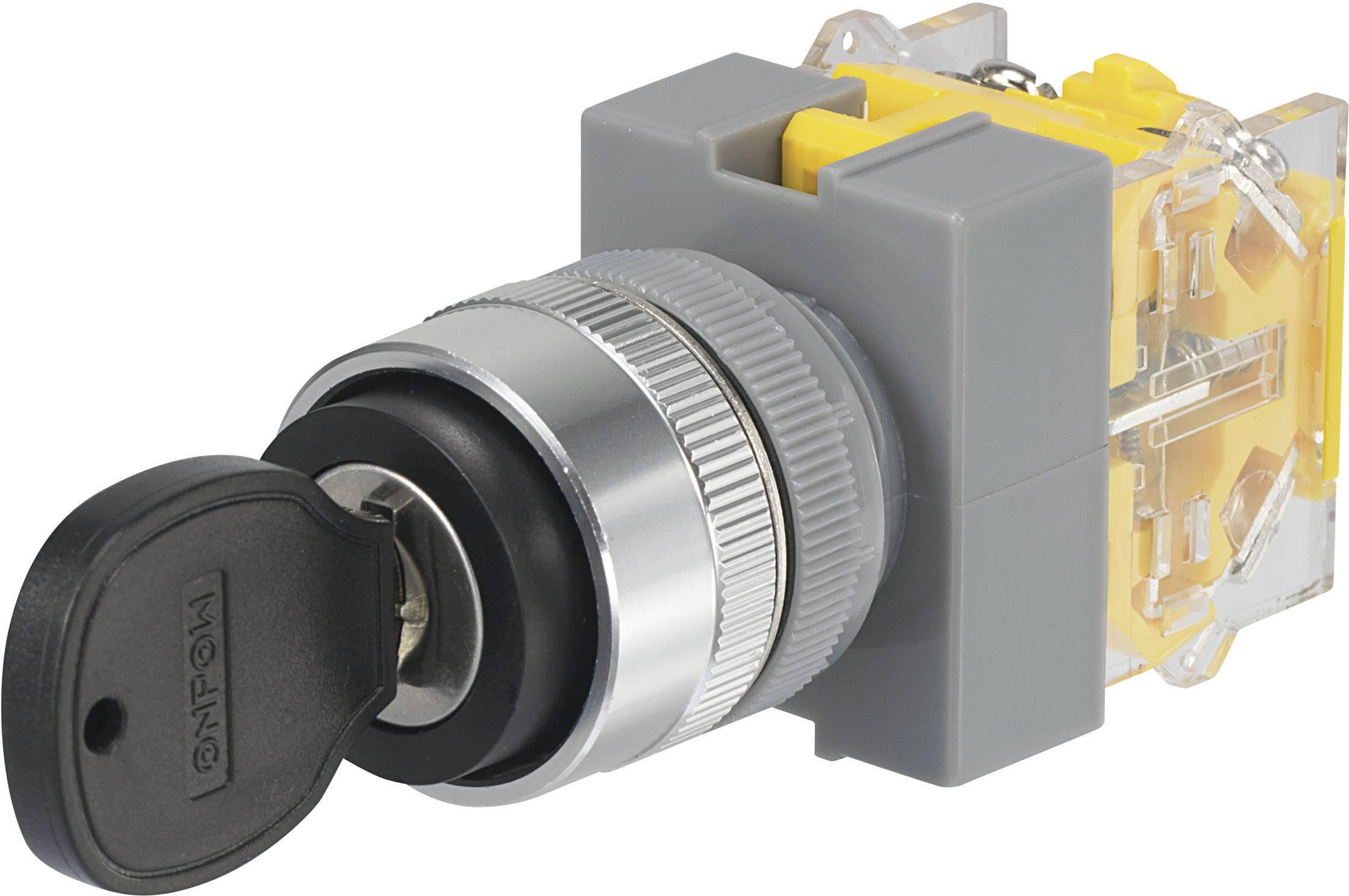 Kľúčový spínač TRU COMPONENTS Y090-A-20Y/33 704536, 250 V/AC, 5 A, 2x (zap)/vyp/(zap), 2 x 45 °, IP40, 1 ks