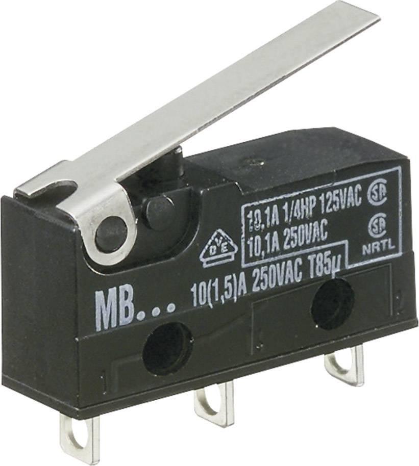 Mikrospínač - rovná kovová páka Hartmann 260524, 250 V/AC, 10 A