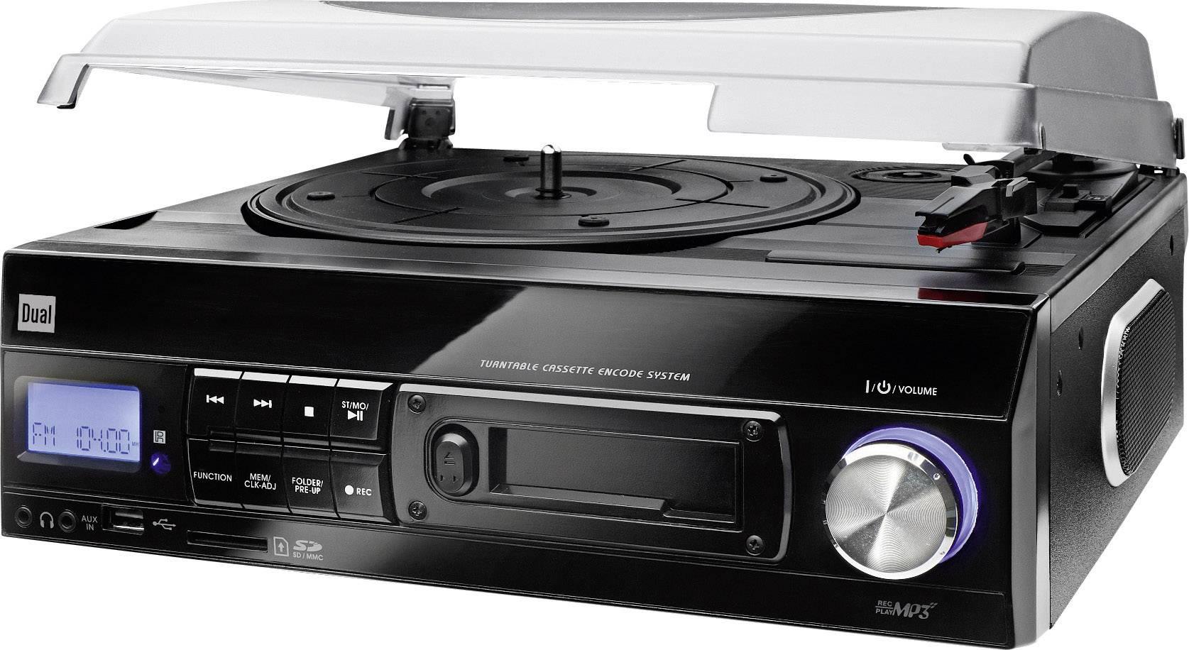 USB gramofón Dual DTTC 100 s remienkovým náhonom, diaľk.ovladač, čierna