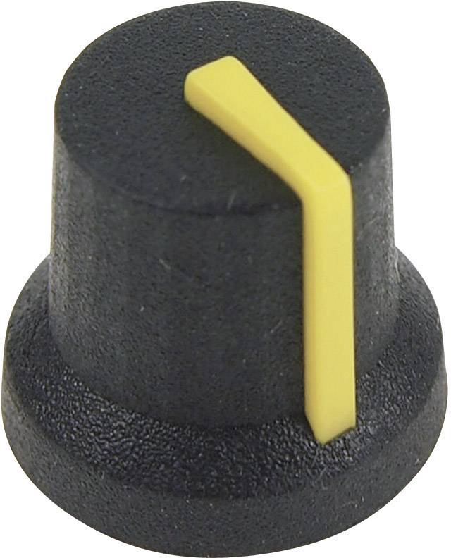Otočný gombík Cliff CL170845CR, (Ø x v) 16.8 mm x 14.5 mm, čiernožltá, 1 ks