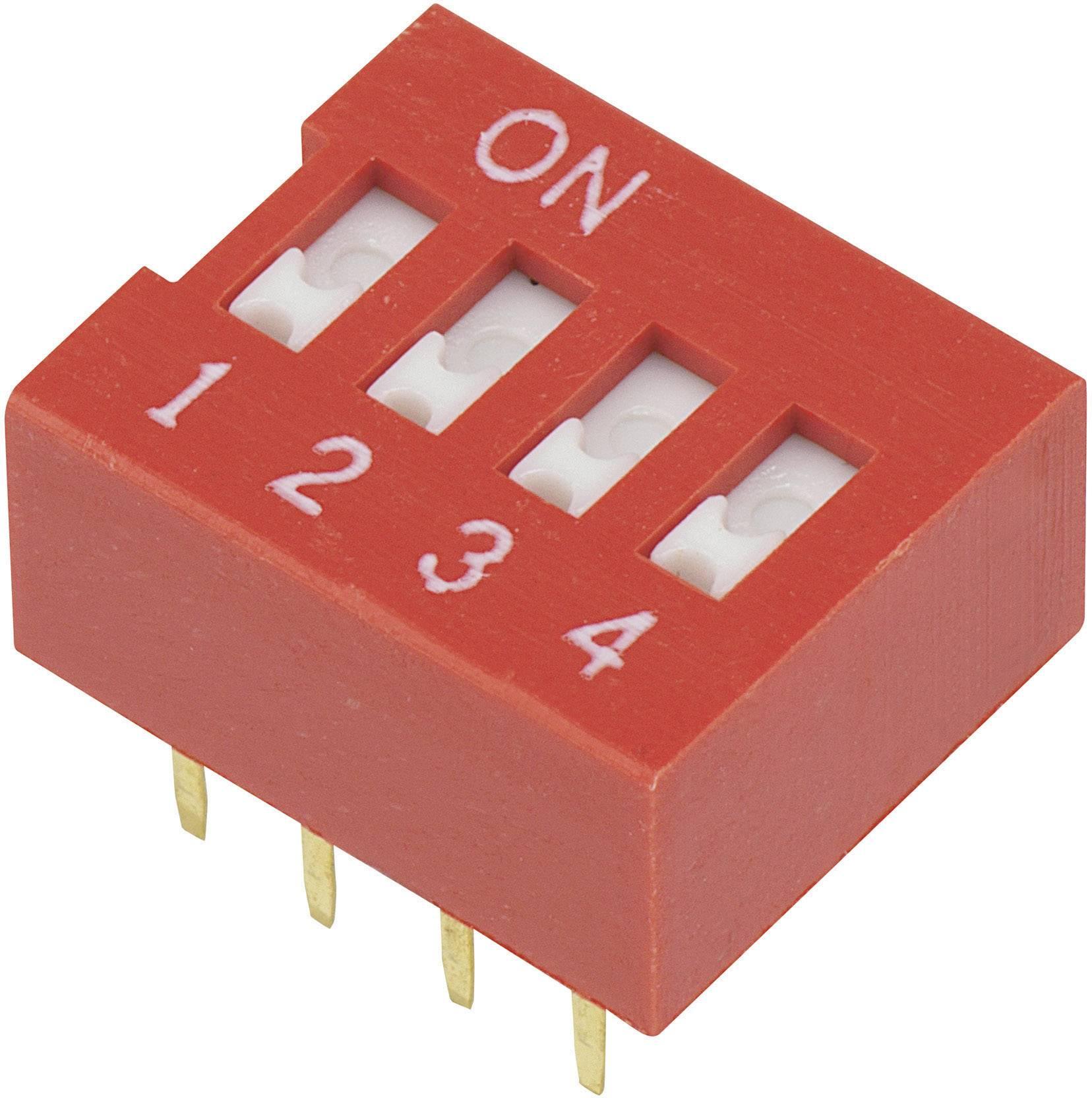 DIP spínač DSR-04, (š x v) 9,9 mm x 5,7 mm