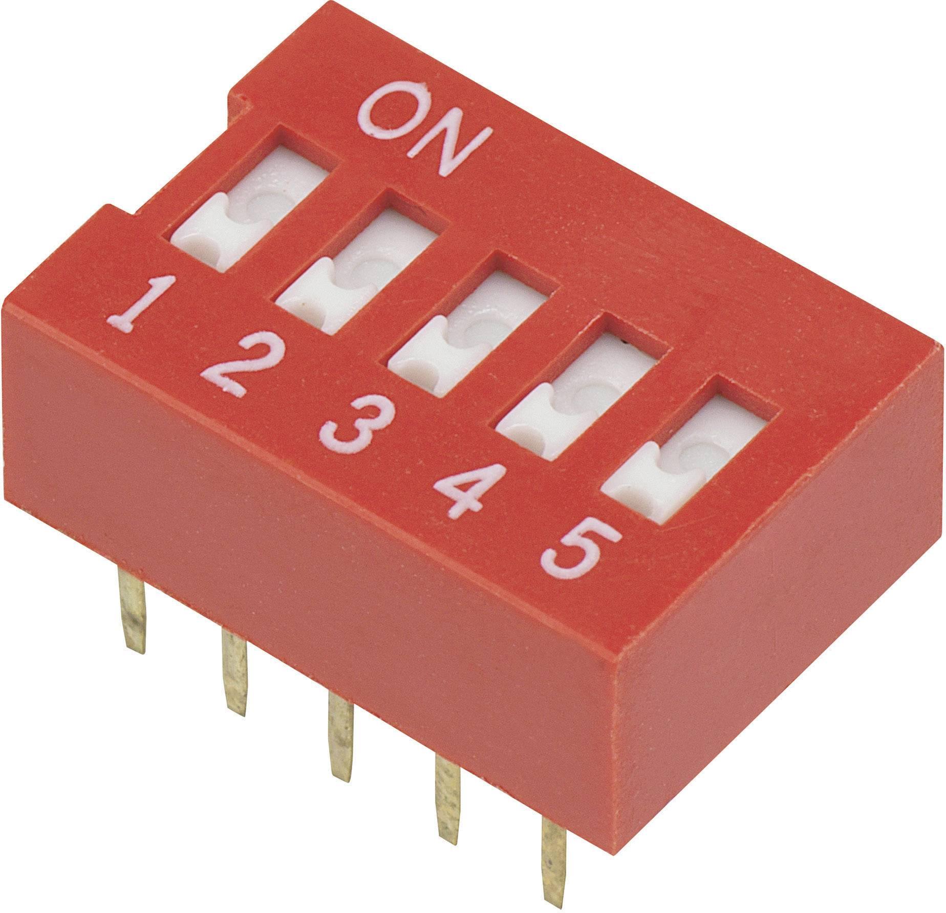 DIP spínač DSR-05, (š x v) 9,9 mm x 5,7 mm