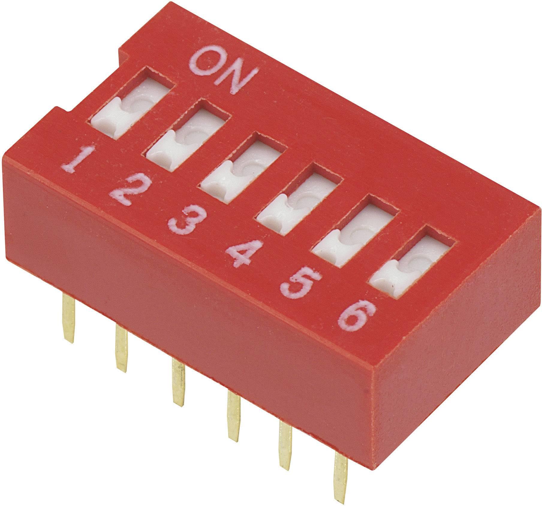 DIP spínač DSR-06, 9,9 x 5,7 mm, 6pól.
