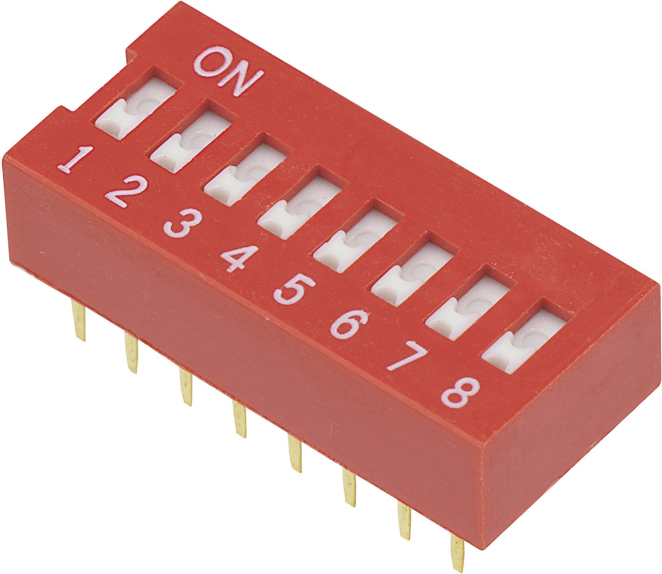 DIP spínač DSR-08, (š x v) 9,9 mm x 5,7 mm