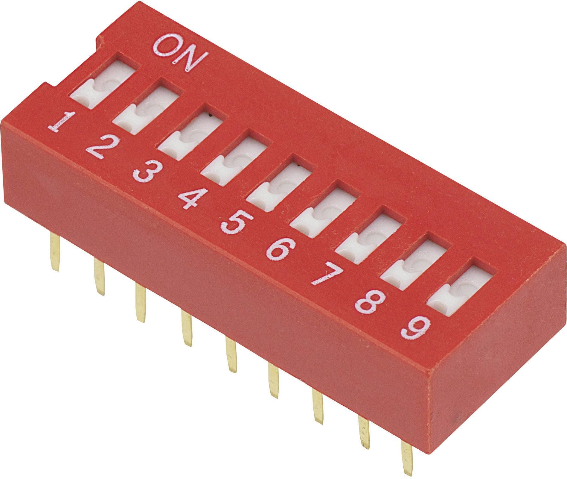 DIP spínač DSR-09, (š x v) 9,9 mm x 5,7 mm