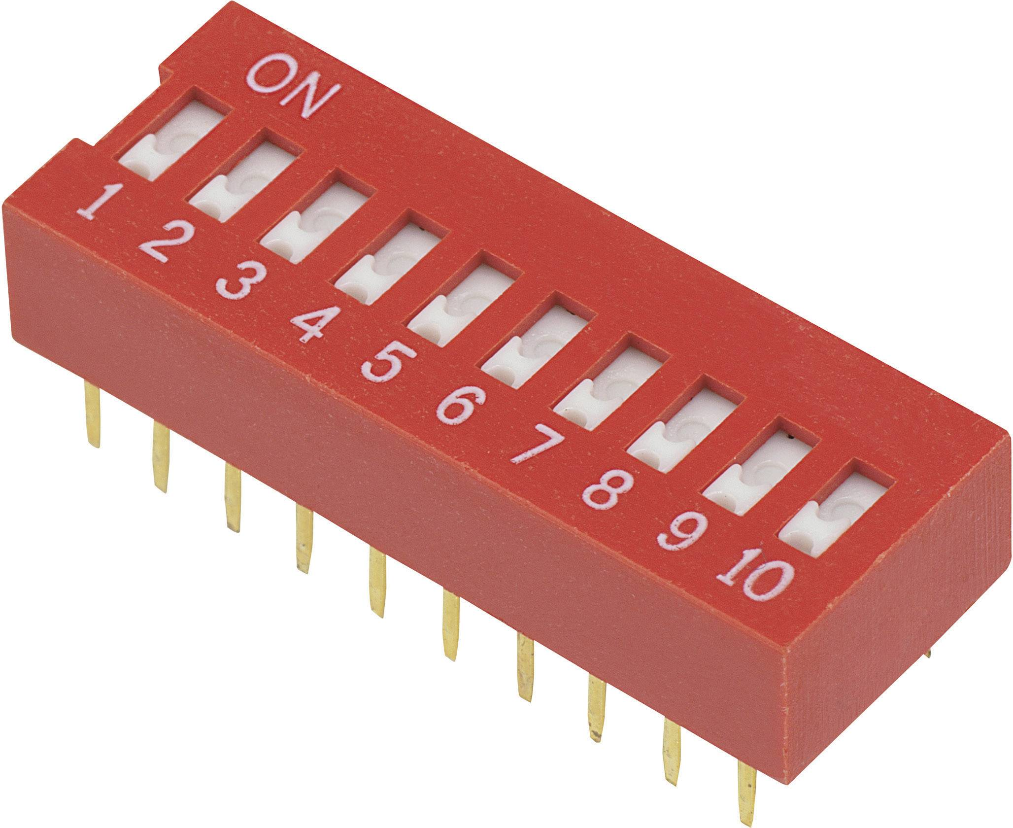 DIP spínač DSR-10, (š x v) 9,9 mm x 5,7 mm