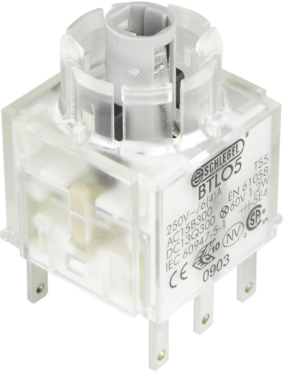 Spínacie kontaktné teleso s objímkou lampičky Schlegel BTLO5, 2 rozpínacie, bez aretácie, 250 V, 1 ks
