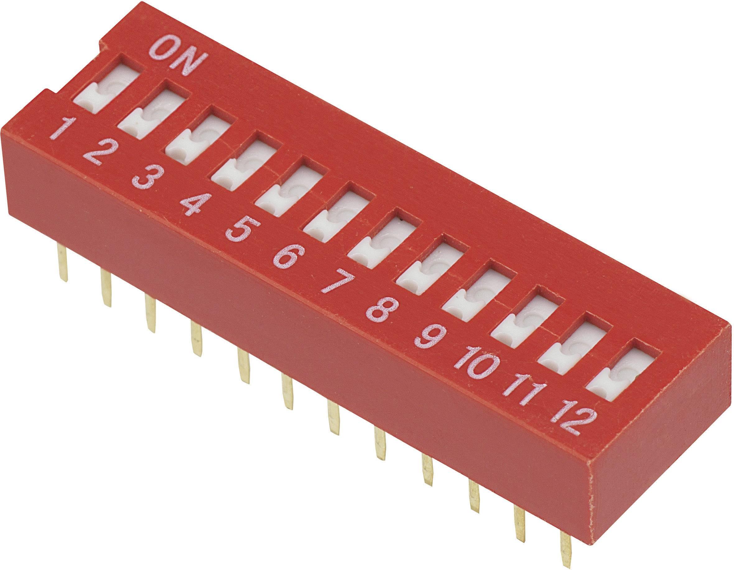 DIP spínač DSR-12, (š x v) 9,9 mm x 5,7 mm